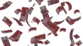 Yuan banknotes falling like rain stock footage