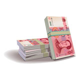 Yuan banknotes  illustration, financial them Royalty Free Stock Photo