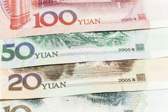 Yuan banknotes. Some different Yuan banknotes China Royalty Free Stock Photography