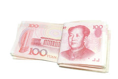 100 Yuan bills fold isolated Stock Images