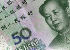 China, Chinese currency, Yuan 50 bank bills close up Royalty Free Stock Images