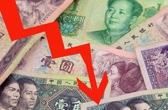 YUAN Chinese Currency FALLING. Yuan - the Chinese currency renminbi banknotes, economy Falling Royalty Free Stock Photo