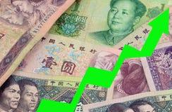 YUAN Chinese Currency STEIGEN Stockfoto