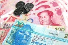 Yuan chino contra los dólares de Hong-Kong Fotos de archivo