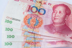 Yuan cinesi della banconota cento di valuta Immagine Stock