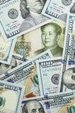 Yuan contra dólares Imagen de archivo