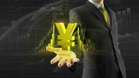 Yuan de los yenes del control del hombre de negocios a mano libre illustration