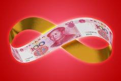 Yuan de oro infinito imágenes de archivo libres de regalías