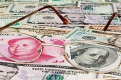 Yuan de Zaken van China en de dollar Stock Afbeelding