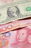 Yuan and Dollar Royalty Free Stock Photos