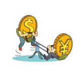Yuan and Dollar coins on teeter. Yuan vs dollar Stock Images