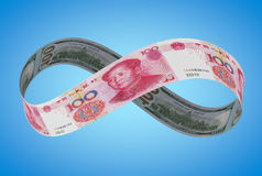 Yuan-dollar infini Photos libres de droits