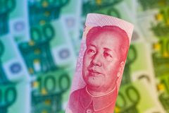 Yuan et euro billets de banque Photo stock