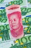 Yuan and euro banknotes Stock Photos