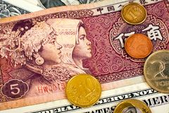 Yuan Foreign Currency closeup of money International currencies. Coin Royalty Free Stock Photography