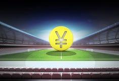 Yuan golden coin in midfield of magic football stadium Stock Photos