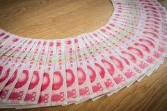 100 Yuan, kinesiska pengar Arkivbild