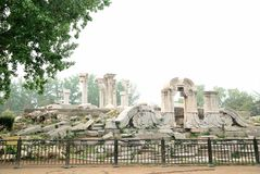 Yuan Ming Yuan historical architectural monuments. Asia Travel Chinese Beijing Ming Garden Park historical architectural monuments, all white marble Royalty Free Stock Photos