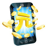 Yuan money phone concept. Illustration of mobile cell phone with gold Yuan sign and coins Royalty Free Stock Photography