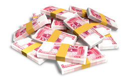 Yuan Notes Scattered Pile Stock Photos