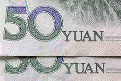 China, Chinese money, Yuan 50 currency notes or bills close up Royalty Free Stock Photos