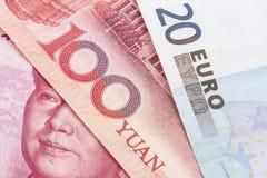 Yuan och Euro royaltyfria bilder