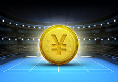 Yuan prize money placed on a blue tennis court Stock Photo