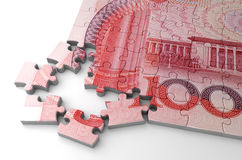 Yuan and Puzzle Royalty Free Stock Photos