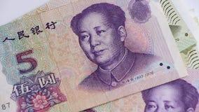 Yuan sedel från Kina stock video