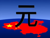 Yuan sign with chinese map. Giant Yuan sign with chinese map and flag from space Royalty Free Stock Photography
