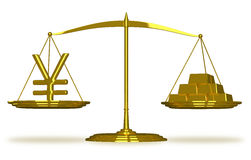 Yuan sign and gold bars on scales Royalty Free Stock Image