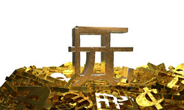 Yuan sign on a pile of other currency symbols Stock Photo