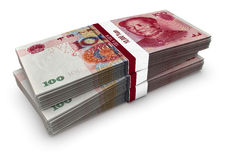 Yuan Stack. Bundles of Chinese one hundred Yuan banknotes stock illustration