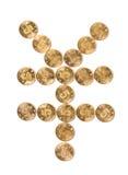 Yuan symbol. Coins Yuan symbol On Closeup Stock Images