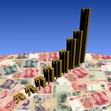 Yuan symbol graph on currency Royalty Free Stock Photography