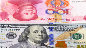 Yuan vs Dollar bank notes concept Stock Photos