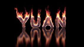 Yuan word burning in flames on the glossy surface, financial 3D background stock video footage