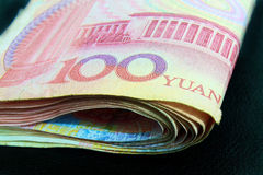 100 Yuan word on money bill Stock Image