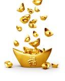Yuanbao chinês do sycee do ouro Imagens de Stock