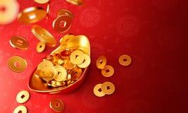 Yuanbao - pièces d'or se laissant tomber sur le sycee d'or Images libres de droits