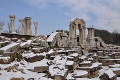 Yuanmingyuan ruiny w śniegu Obrazy Royalty Free