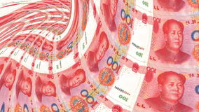 Yuans banknote tunnel, financial depression, financial crash. stock footage