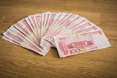 100 yuans, Chinees geld Stock Foto
