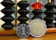 Yuans de pièce de monnaie d'argent euro avec l'abaque Photographie stock libre de droits