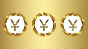 Yuans på en guld- lutning vektor illustrationer