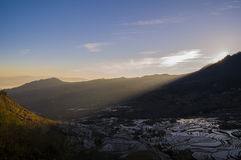 Yuanyang terraced sunrise stock image