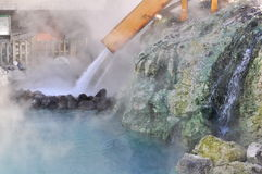 Yubatake hot field water at Kusatsu. This picture represent the cooling methodology for hot-spring water in Kusatsu resort area which is located in Japanase Stock Image