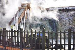 Yubatake hot field water at Kusatsu Royalty Free Stock Image
