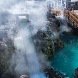 Yubatake hot spring in Kusatsu onsen. Yubatake hot spring is landmark in Kusatsu onsen. Gunma,Japan Royalty Free Stock Photo
