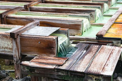 Free Yubatake Onsen, Hot Spring Wooden Boxes With Mineral Water Stock Images - 95479464